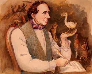 Hans Christian Andersen being briefed by the ugly duckling